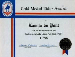 USDF Gold Medal Certificate